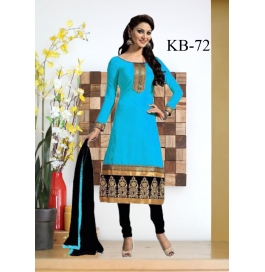 Kala Boutique Creation Blue   Chenderi Cotton Embroidery Work Dress Material