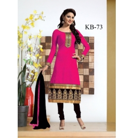 Kala Boutique Creation  Pink   Chenderi Cotton Embroidery Work Dress Material