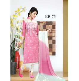 Kala Boutique Creation Pink Cotton Embroidery Work Dress Material