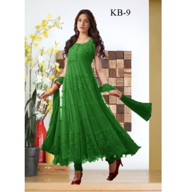 Kala Boutique Creation Green Net Embroidery Work Dress Material