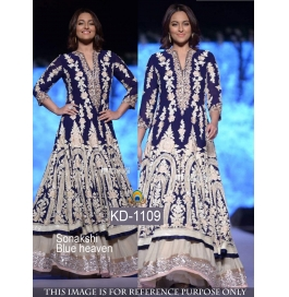 Sas Creations Fab Super Georgette Blue Gown