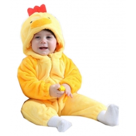 Unisex Baby Kidslounge New Fashion Spring Autumn Baby Clothes Flannel Catoon Animal Jumpsuit - Chick Romper