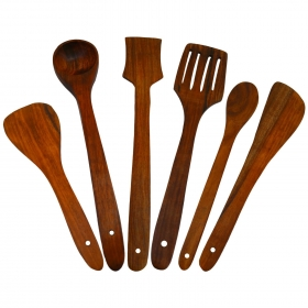 Desi Karigar Wooden Serving And Cooking Spoon Kitchen Utensil Set Of 6