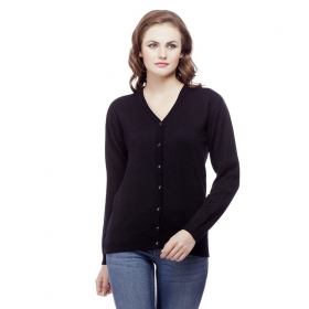 Black Acro Wool Buttoned Cardigans