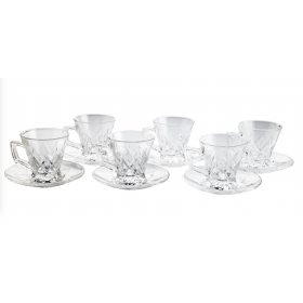 Glass Cup & Saucer Tea Set