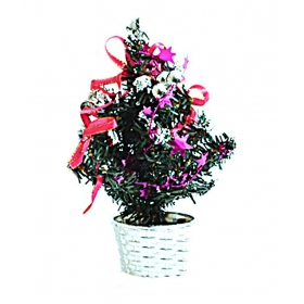 Christmas Table Top Decorative Tree - Silver And Pink