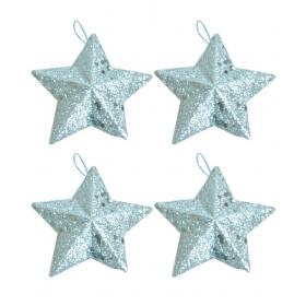 Christmas Tree Decorations Silver Glitter Stars