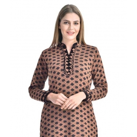 World Beige Woollen Straight Kurti