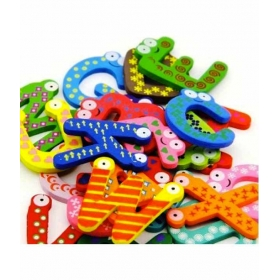 Multicolor English Wood Magnet Alphabet 26 Different Pcs For Kids