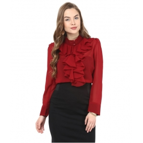 Poly Georgette Maroon Shirt