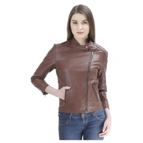 Brown Pu Leather Zippered Jackets