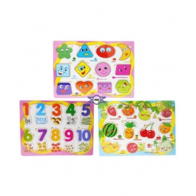 Learning Combo Pack Of 3 Wooden Tray With Wooden Numbers, Fruits & Geometrical Shapes Blocks For Kids (multicolor)