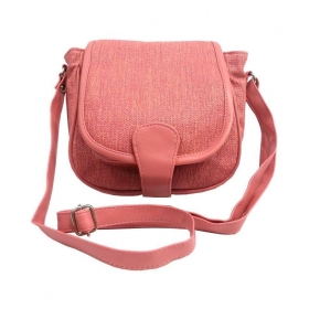 Peachpuff Faux Leather Sling Bag