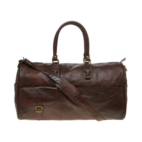 Leather World Brown Solid Duffle Bag