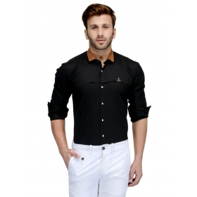 Edjoe Men's Black With Brown Velvet Collar Slimfit Casual/club/partywear Shirt, Bledms0177