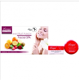Leeya Professional Aha Fruit Punch Spa Facial Kit 500gm + Leeya Instant Tan Removal Creme Pack 80gm