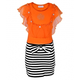 Orange Cotton Dress For Girls