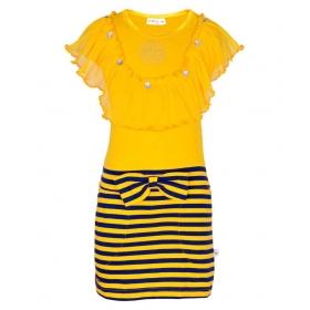 Girls Yarn Dyed Mesh Tassel Dress