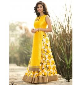 Designer Yellow Dupion Silk Suit