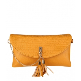 Yellow Faux Leather Clutch
