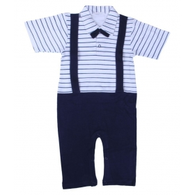 Stylish Son Striped Formal Romper With Glace