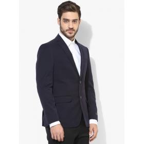 Navy Blue Solid Blazer For Men