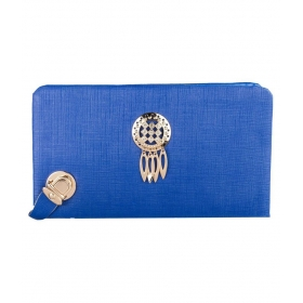 Blue Faux Leather Clutch