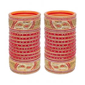 Designer Golden White & Red Stone Chuda Bridal Wedding Choora Fashion Chura Set