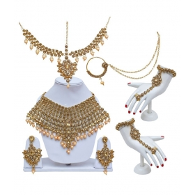 Lct Golden Bridal Dulhan Wedding & Engagement Necklace Set With Mang Tikka