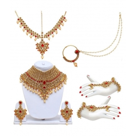 Lct Red Bridal Dulhan Wedding & Engagement Necklace Set With Mang Tikka