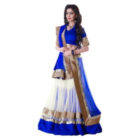 Blue Net Semi Stitched Lehenga