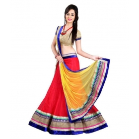 Red Net Semi Stitched Lehenga
