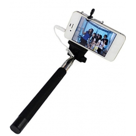 Extendable Selfie Stick With Aux Cable Hand Held Monopod - Black
