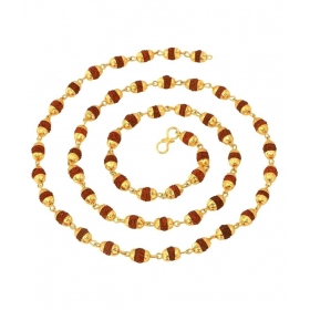 Gold Plated Alloy Multi Rudraksh Chain For Men
