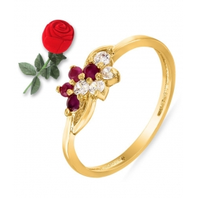 Gold Plated Ruby Studded Ring With Rose Shaped Box For Women