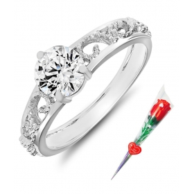 Silver Ring With Rose Stick