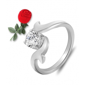 Silver Solitaire Ring With Rose Shaped Box