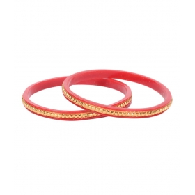 Gold Pola Maroon Colored Copper With 24 Carat Micro Gold Plated Guaranteed Pair Of Bangles
