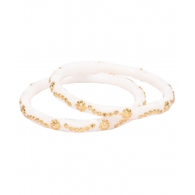 Gold Shakha White Colored Copper With 24 Carat Micro Gold Plated Guaranteed Pair Of Bangles (size 2.4)