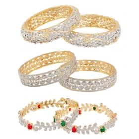 Golden Designer Bangles - Pair Of 3
