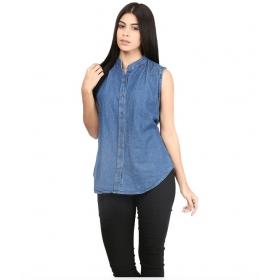 Blue Denim Sleeveless Shirts