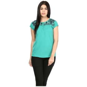 Green Poly Crepe Tops