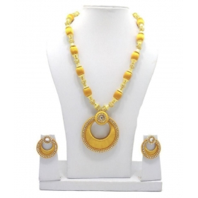 Silk Thread Necklace With Stone Balls & Chandabelli Earring Set For Beautiful Women (mds-1011)