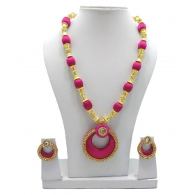 Silk Thread Necklace With Stone Balls & Chandabelli Earring Set For Beautiful Women (mds-1011