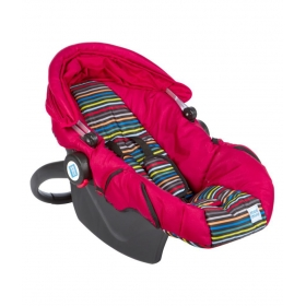 Baby Car Seat Cum Carry Cot With Thick Cushioned Seat & Head Support_red