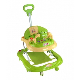 Baby Walker With Adjustable Height And Push Handle Bar Green
