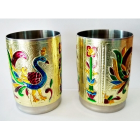 Royals Pride Meenakari Serving Glass Home Decor Gift (set 2)