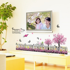 Ay7267 Dynamic Well With Tree And Butterfies Nature Wall Sticker  Jaamso Royals