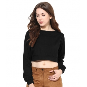 Chase Black Cotton Crop Top
