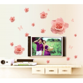 Ay7223 Pink Rosses Nature Wall Sticker  Jaamso Royals